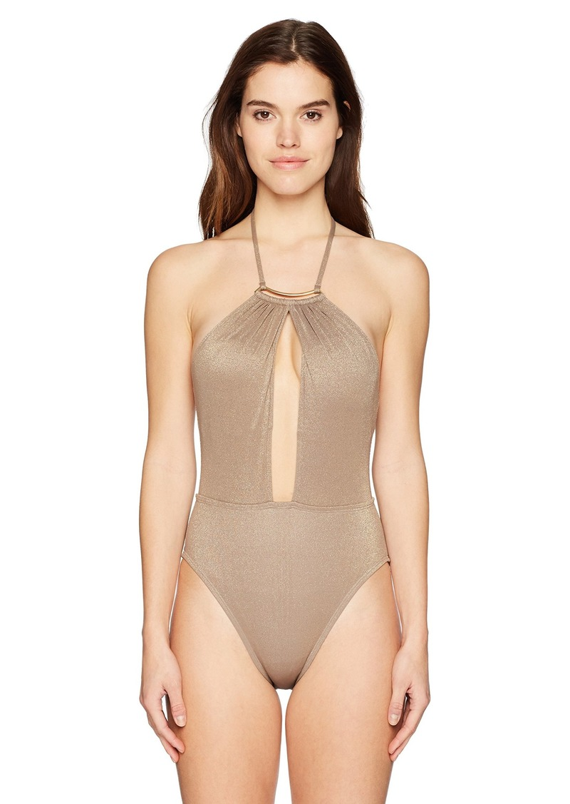 Kenneth Cole New York Women's High Neck Plunge Front Halter One Piece Swimsuit