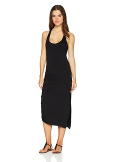 Kenneth Cole New York Women's Scoop Neck Asymmetrical Hem Racerback Midi Dress Black // LBD