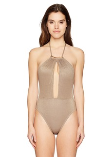 Kenneth Cole New York Women's Lurex Solid High Neck Plunge One Piece Swimsuit  Extra Large
