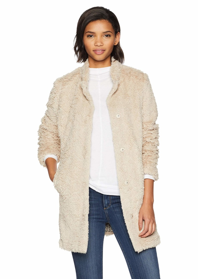 Kenneth Cole New York Women's mid Length snap Faux Fur Coat with Texture  XL