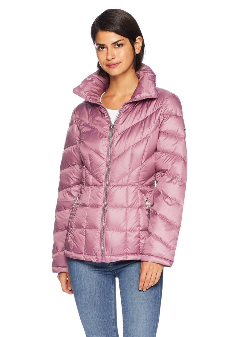 Kenneth Cole New York Women's mid Length Zip Puffer Jacket with Mixed Quilting  L