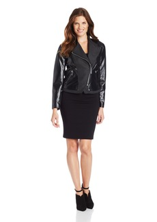 Kenneth Cole New York Women's Mixed Media Faux Leather Jacket