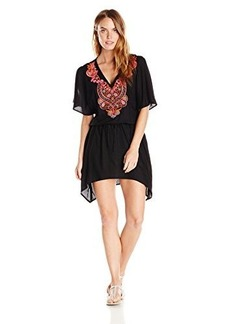 Kenneth Cole New York Women's Mumbai The Sea Flutter Sleeve Embroidered Tunic Cover Up
