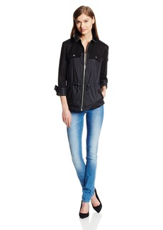 Kenneth Cole New York Women's Nylon Anorak Jacket with Cinched Waist