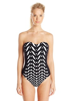 Kenneth Cole New York Women's Optical Illusion Bandeau One Piece Swimsuit