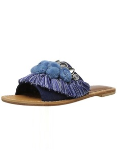 Kenneth Cole New York Women's Osmond Fringe Pom Detail Slide Sandal