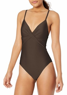 Kenneth Cole New York Women's Over The Shoulder Push Up Mio One Piece Swimsuit  L