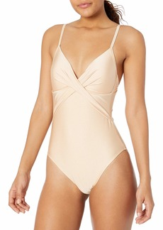 Kenneth Cole New York Women's Over The Shoulder Push Up Mio One Piece Swimsuit  S