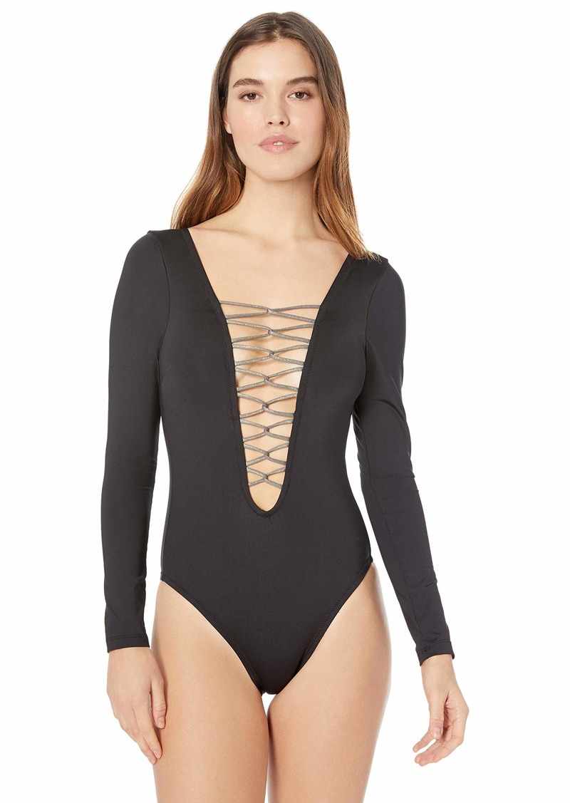 Kenneth Cole New York Women's Plunge Front Lace Up Long Sleeve One Piece Swimsuit  Extra