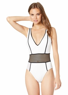 Kenneth Cole New York Women's Plunge Front One Piece Swimsuit