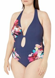 Kenneth Cole New York Women's Halter Plunge Mio One Piece Swimsuit  L