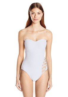 Kenneth Cole New York Women's Sexy Solids Bandeau One Piece Swimsuit  L