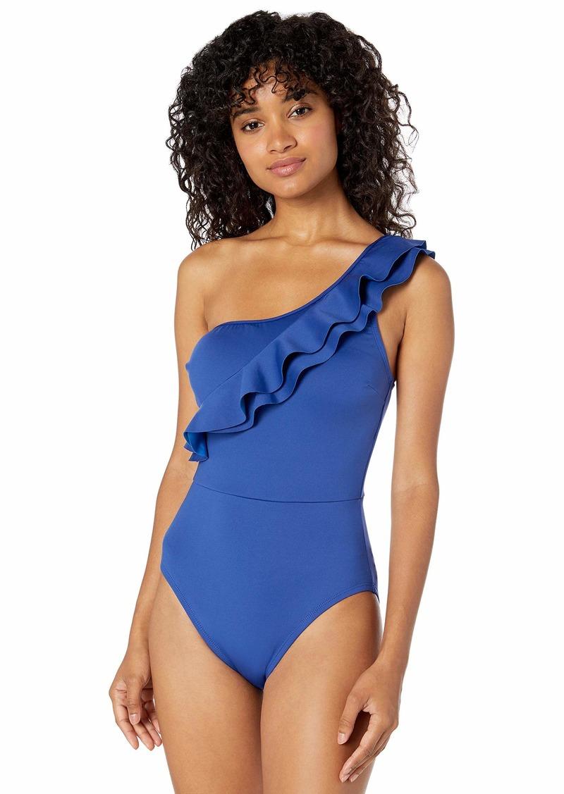 Kenneth Cole New York Women's Shoulder Mio Tummy Toner One Piece Swimsuit  M