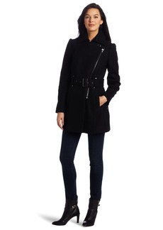 Kenneth Cole New York Women's Single Breasted Asymetrical Zip Coat