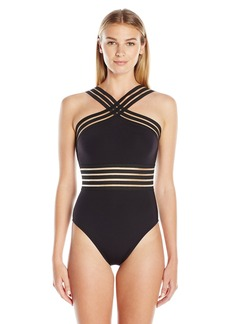 Kenneth Cole New York Women's Stompin in My Stilettos High Neck Mio One Piece Swimsuit Black