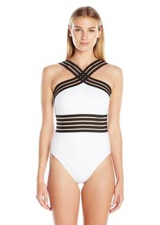 Kenneth Cole New York Women's Stompin in My Stilettos High Neck Mio One Piece Swimsuit White