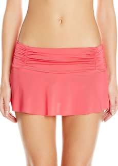 Kenneth Cole New York Women's Strappy Hour Rouched Skirted Bikini Bottom