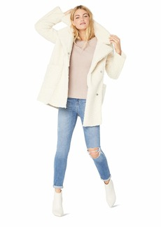 Kenneth Cole New York Women's Thigh Length snap Faux Shearling Jacket Notched Collar  L