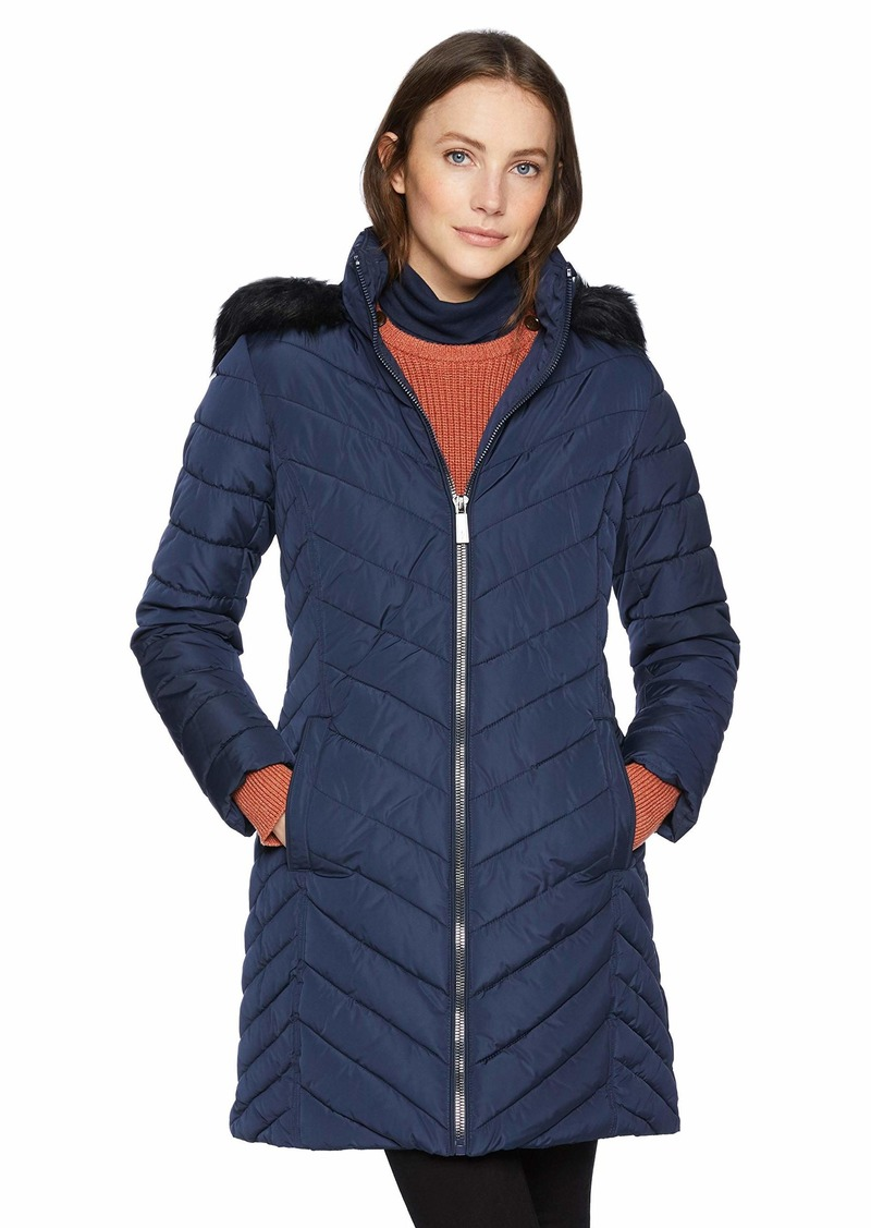 Kenneth Cole New York Womens Thigh Length Zip Puffer with Faux Fur Collar