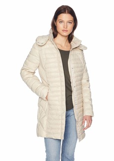 Kenneth Cole New York Women's Thigh Length Zip Puffer Jacket with Hood  L