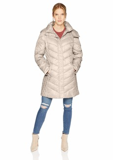 Kenneth Cole New York Women's Thigh Length Zip Puffer Jacket with Mix Quilts  L