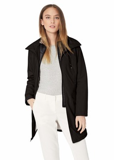Kenneth Cole New York Women's Thigh Length Zip rain Jacket with stoweaway Hood in Collar  L