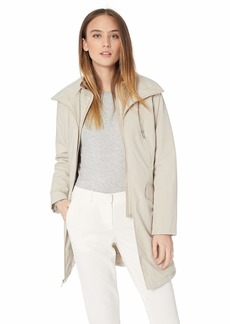 Kenneth Cole New York Women's Thigh Length Zip rain Jacket with stoweaway Hood in Collar  M