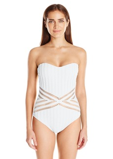 Kenneth Cole New York Women's Tough Luxe Crochet Bandeau Mio One Piece Swimsuit