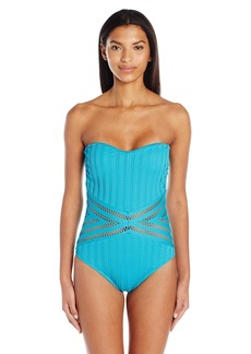 Kenneth Cole New York Women's Tough Luxe Crochet Bandeau Mio One Piece Swimsuit  L