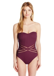 Kenneth Cole New York Women's Tough Luxe Crochet Bandeau Mio One Piece Swimsuit  M