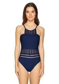 Kenneth Cole New York Women's High Neck Crochet One Piece Swimsuit