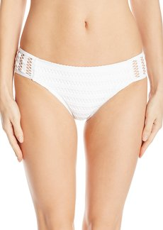 Kenneth Cole New York Women's Tough Luxe Crochet Moderate Coverage Side-Tab Swimsuit Bikini Bottom  L