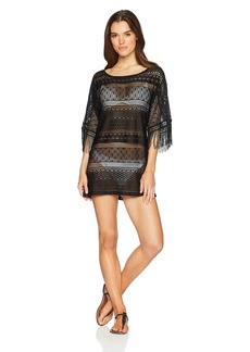 Kenneth Cole New York Women's Long Sleeve Boat Neck Tunic Cover up Dress Black/Crochet // Tough Luxe
