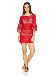 Kenneth Cole New York Women's Long Sleeve Boat Neck Tunic Cover up Dress Spice/Crochet // Tough Luxe