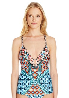 Kenneth Cole New York Women's Cross Back Tankini Swimsuit Top Blue/Orange // Tribe Vibes