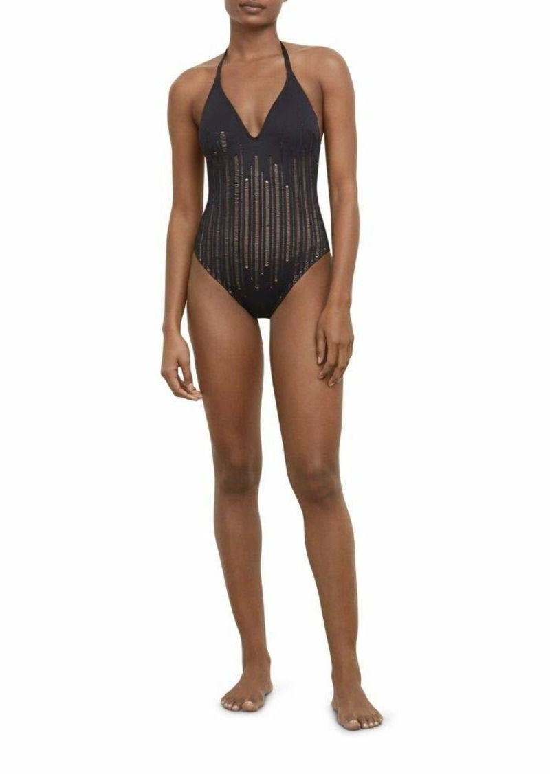 Kenneth Cole New York Women's V-Neck Halter One Piece Swimsuit
