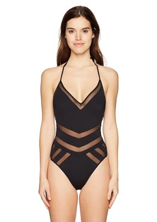 Kenneth Cole New York Women's V-Neck Halter One Piece Swimsuit Black Meshed Up