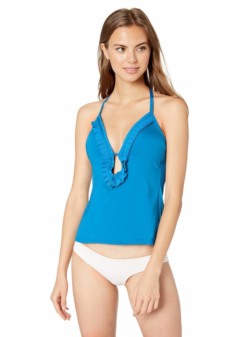 Kenneth Cole New York Women's V-Neck Keyhole Halter Tankini Swimsuit Top