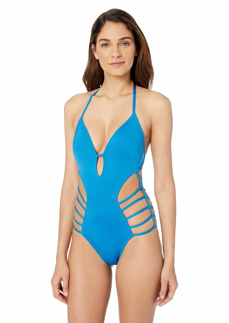 Kenneth Cole New York Women's V-Neck Keyhole Strappy Halter One Piece Swimsuit
