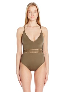 Kenneth Cole New York Women's Weave Your Own Way Solid Plunge Mio Sexy One Piece Swimsuit  XL