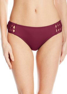 Kenneth Cole New York Women's Weave Your Own Way Solid Tab Side Hipster Bikini Bottom  L