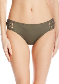 Kenneth Cole New York Women's Weave Your Own Way Solid Tab Side Hipster Bikini Bottom  M