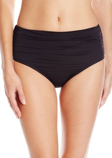 Kenneth Cole New York Women's without Borders Solid Shirred High Waist Bikini Bottom  L