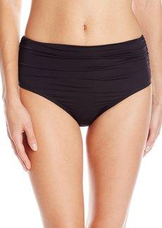 Kenneth Cole New York Women's without Borders Solid Shirred High Waist Bikini Bottom  S
