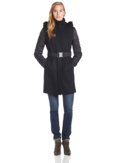 Kenneth Cole New York Women's Wool Belted Coat Faux Fur Hood and Quilted Sleeves