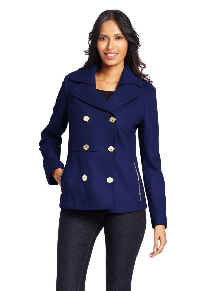 Kenneth Cole New York Women's Zipper Pocket Pea Coat