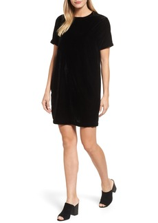 Kenneth Cole New York Zip Shoulder Velvet Shift Dress