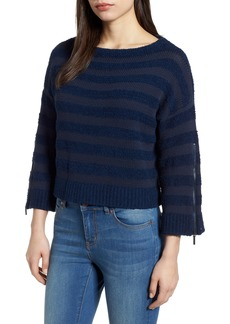 Kenneth Cole New York Zip Sleeve Stripe Sweater