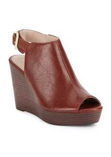 Kenneth Cole Peep-Toe Leather Wedge Sandals