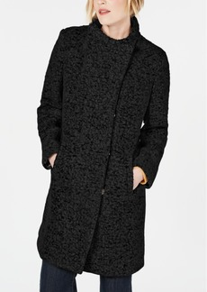 Kenneth Cole Petite Asymmetrical Boucle Walker Coat